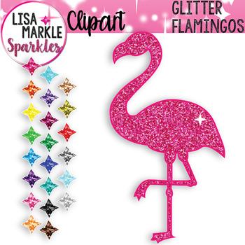 Rainbow Glitter Flamingo Clipart