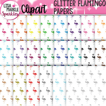 Rainbow Glitter Flamingo Digital Paper Background Clipart