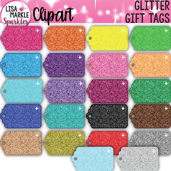 Rainbow Glitter Gift Tag Clipart