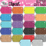 Rainbow Glitter Gift Tag Clipart