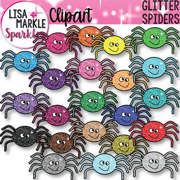 Rainbow Glitter Halloween Spider Clipart