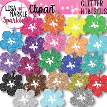 Rainbow Glitter Hawaii Summer Beach Hibiscus Flower Clipart