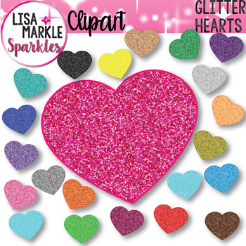 Rainbow Glitter Hearts Clipart