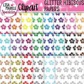 Rainbow Glitter Hibiscus Flower Digital Paper Background Clipart