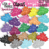 Rainbow Glitter Maple Leaf Clipart for Fall and Back to School