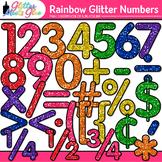 Rainbow Glitter Math Numbers Clip Art {Glitter Meets Glue}