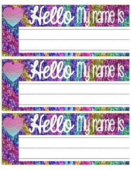 Rainbow Glitter Name Tags