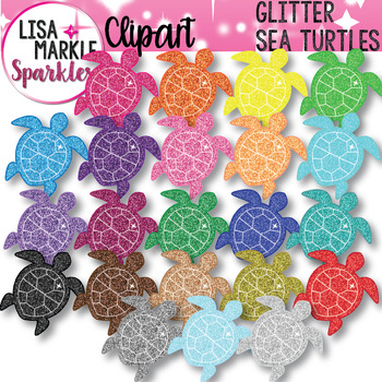 Rainbow Glitter Ocean Sea Turtle Clipart