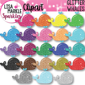 Rainbow Glitter Ocean Whale Clipart
