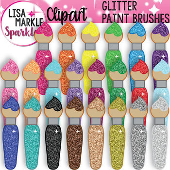 Rainbow Glitter Paint Brush Clipart for Back to School