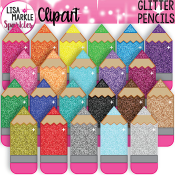 Rainbow Glitter Pencil Clipart for Back to School