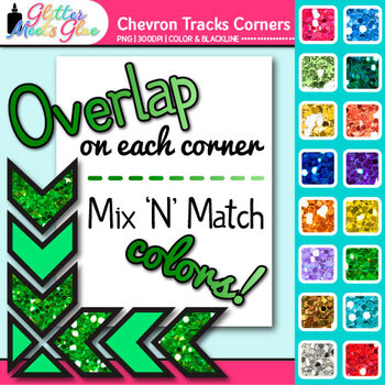 Chevron Tracks Photo Corner Clip Art {Rainbow Glitter Designs for Worksheets}