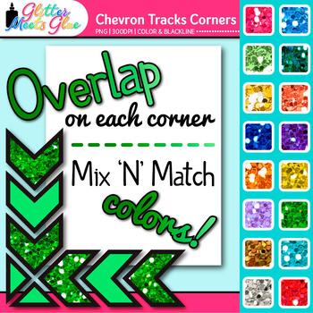 Chevron Tracks Photo Corner Clip Art {Rainbow Glitter Designs for Worksheets}