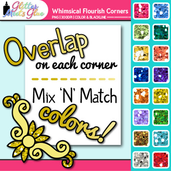 Whimsy Flourish Photo Corner Clip Art {Rainbow Glitter Designs for Worksheets}