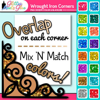 Wrought Iron Photo Corner Clip Art {Rainbow Glitter Designs for Worksheets}