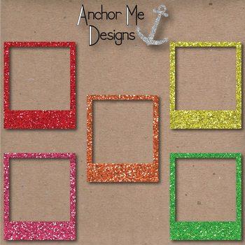 Rainbow Glitter Polaroid Picture Frames for Bulletins, TPT