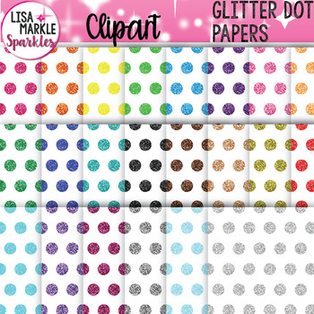 Rainbow Glitter Polka Dot Digital Paper Background Clipart