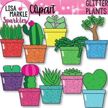 Rainbow Glitter Potted Plants for Spring Clipart