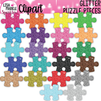 Puzzle Piece Clipart with Glitter