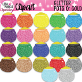 Rainbow Glitter Saint Patrick's Day Pots of Gold Clipart