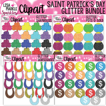 Rainbow Glitter Saint Patrick's Day Shamrock Horseshoe Gold Coin Clipart BUNDLE