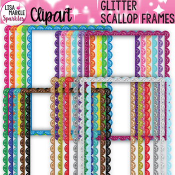 Rainbow Glitter Scallop Frame Clipart
