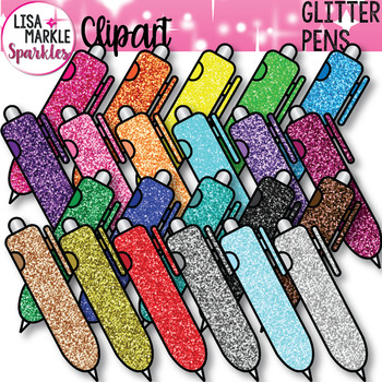 Rainbow Glitter School Supplies Pen Clipart