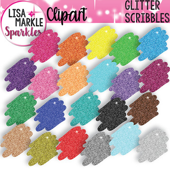 Rainbow Glitter Scribble Clipart for Back to School