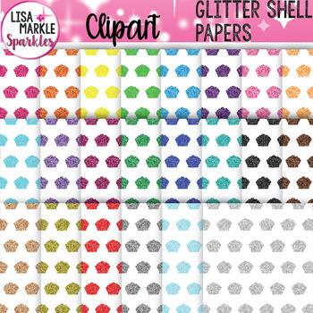 Rainbow Glitter Sea Shell Digital Paper Background Clipart