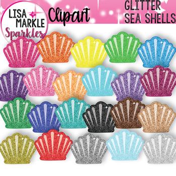 Rainbow Glitter Sea Shell Ocean Summer Clipart