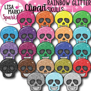 Rainbow Glitter Skull Clipart for Halloween and Day of the Dead