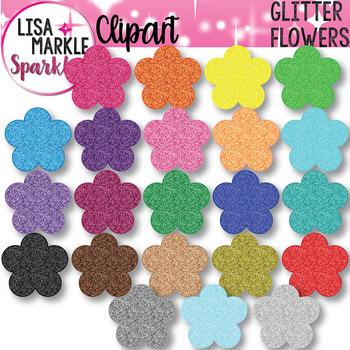 Rainbow Glitter Spring Flower Blossom Clipart
