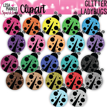 Rainbow Glitter Spring Ladybug Clipart