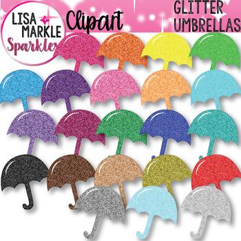 Rainbow Glitter Spring Rain Umbrella Clipart