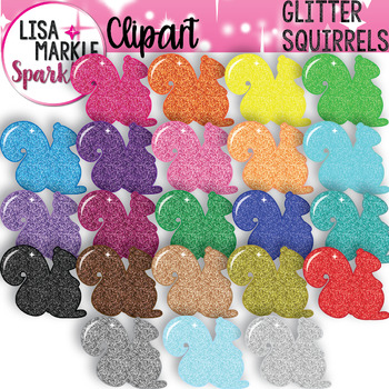 Rainbow Glitter Squirrel Clipart for Fall and Back to School