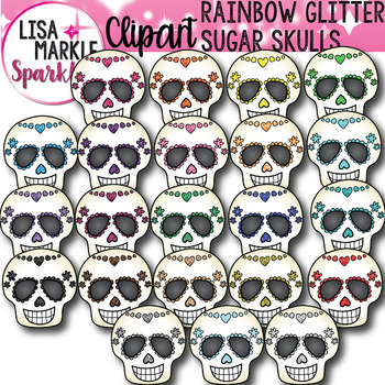 Rainbow Glitter Sugar Skull Clipart for Halloween and Day of the Dead