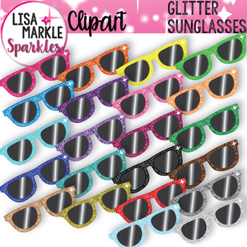 Rainbow Glitter Summer Sunglasses Clipart