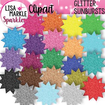Rainbow Glitter Sun Shape Clipart