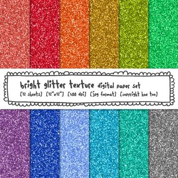 Rainbow Glitter Texture Digital Paper, Bright Digital Glitter Backgrounds