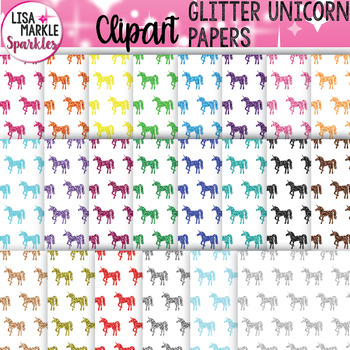 Rainbow Glitter Unicorn Digital Paper Backgrounds Clipart