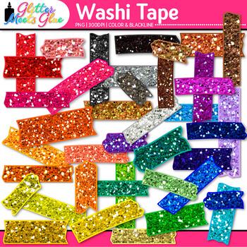 Rainbow Washi Tape Clip Art {Glitter Graphics & Page Eleme