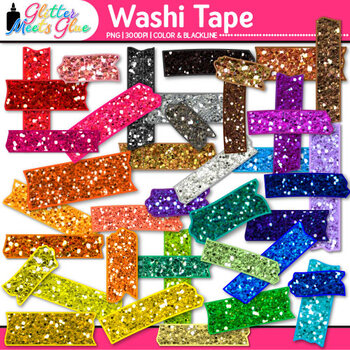 Rainbow Washi Tape Clip Art {Glitter Graphics & Page Elements for Worksheets}