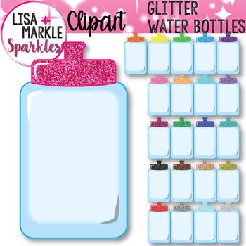 Rainbow Glitter Water Bottle Clipart
