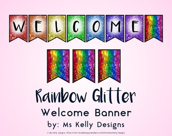 Rainbow Glitter Welcome Banner for Classroom
