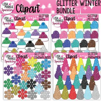 Rainbow Glitter Winter Hat Mitten Snowflake Snowman Clipart BUNDLE