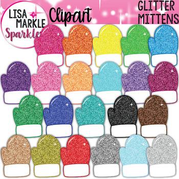 Rainbow Glitter Winter Mitten Clipart