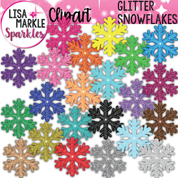 Rainbow Glitter Winter Snowflake Clipart