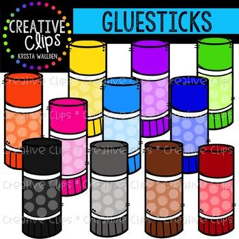Rainbow Glue Sticks Clipart {Creative Clips Clipart}