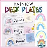 Goal Setting Desk plates | Desk Name tags | Pastel Rainbow Theme