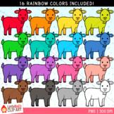 Rainbow Goats Clip Art